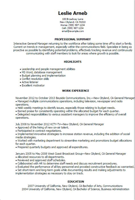 General Manager Resume by Professional General Manager Templates To Showcase Your
