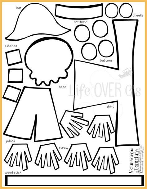 Free Scarecrow Template Printable cut and paste scarecrow craft for fall scarecrows
