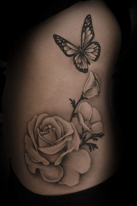 girly flower tattoo designs realistic butterfly flower search