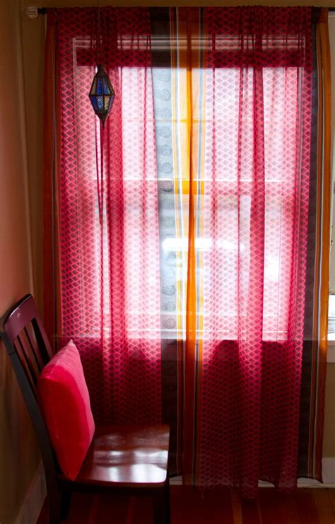 orange and pink curtains sari curtains two sheer curtain panels pink and orange