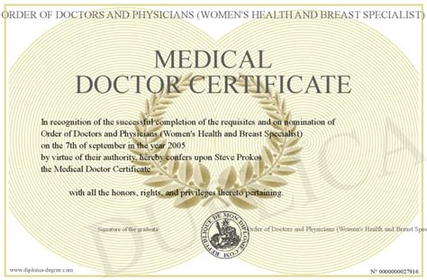 printable degree medical doctor certificate