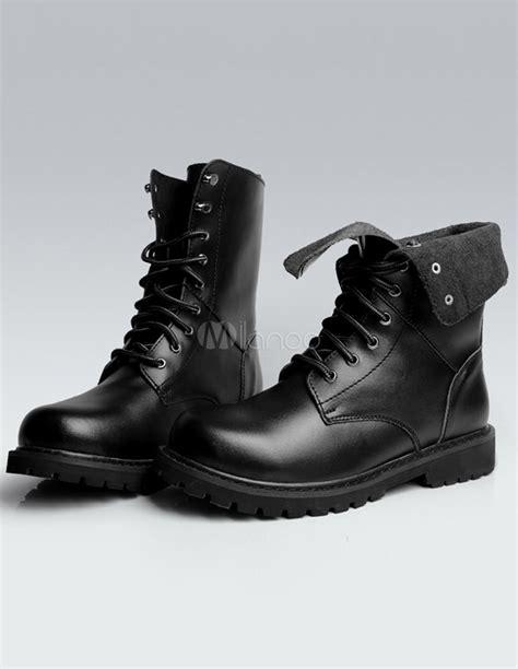 Flat Boot Tb 214 Biru グロメット牛革品質の女性の平らな足首ブーツをブラックします milanoo jp