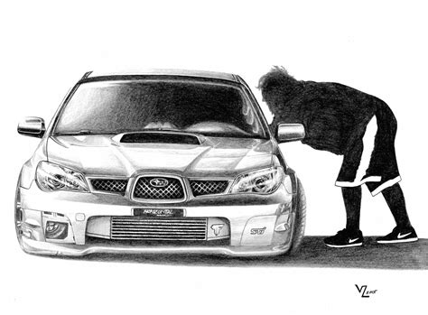 Stanced Car Drawing 600 Whp Subaru Sti By Vitalik Mr