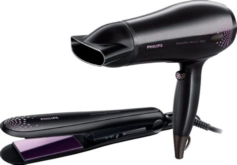 Philips Hp8646 Hair Straightener And Hair Dryer Combo Black philips hp8299 hair dryer philips flipkart