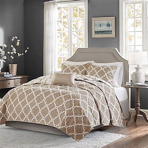 taupe coverlet king buy madison park essentials merritt 4 piece king