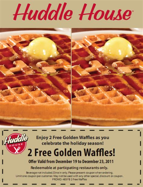 Huddle House Coupons by Free Waffle At The Huddle House Deals Coupons Logicbuy