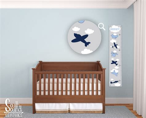 growth charts for rooms growth chart for boys room wall decor blue airplanes