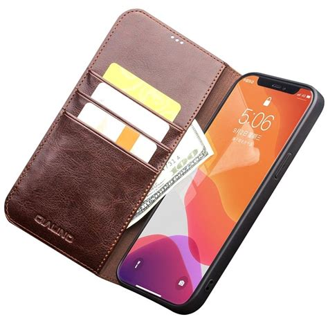 qialino classic iphone  mini wallet leather case brown