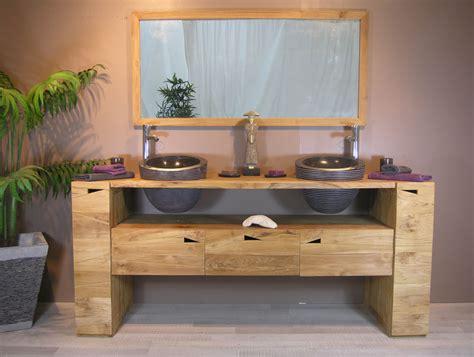 meuble salle de bain vasque bois carrelage salle