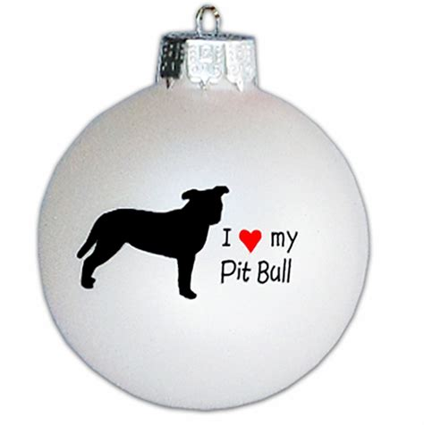 i love my pit bull glass ornament natural by
