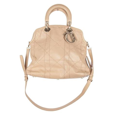 Christian Cannage Purse by Christian Beige Cannage Leather Granville Tote