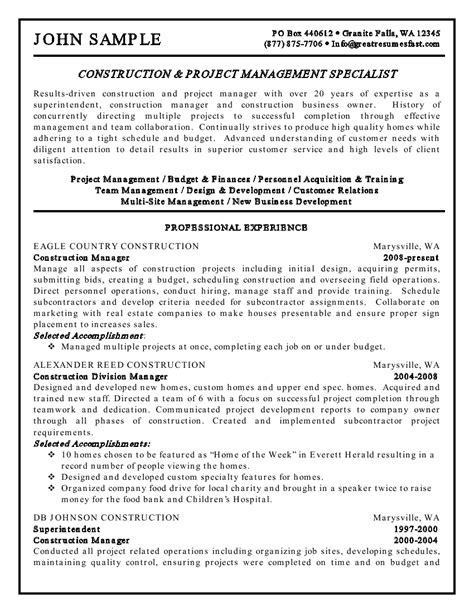 resume construction construction and project management specialist resume