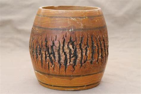 Wood Log Vases by Vintage Primitive Log Wooden Barrel Vase W Rustic Wood Tree Bark