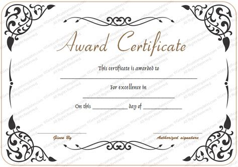 professional award certificate template award of excellence template