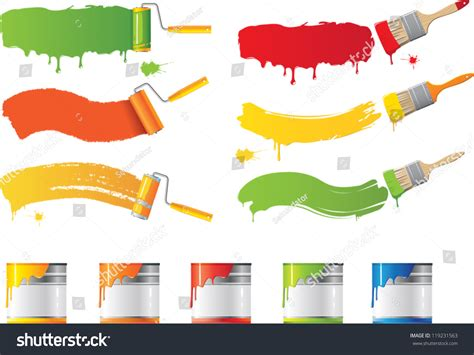 vector roller paint brushes colors stock vector 119231563