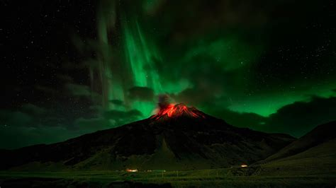 Nature In Lights by Northern Lights A Flaming Volcano Wallpapers And