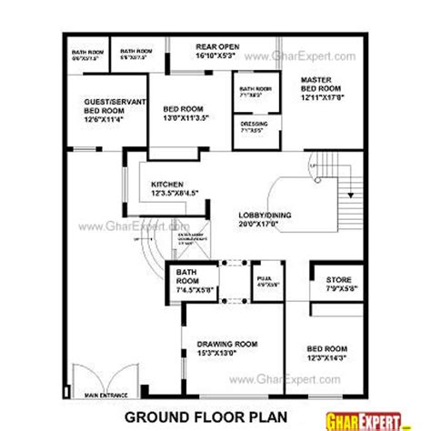 7 5 46 Size Houses Map Design house plan for 48 feet by 58 feet plot plot size 309 square yards