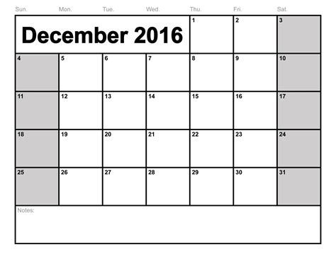 Printable Calendar 2016 To Write On | december 2016 calendar printable free loving printable