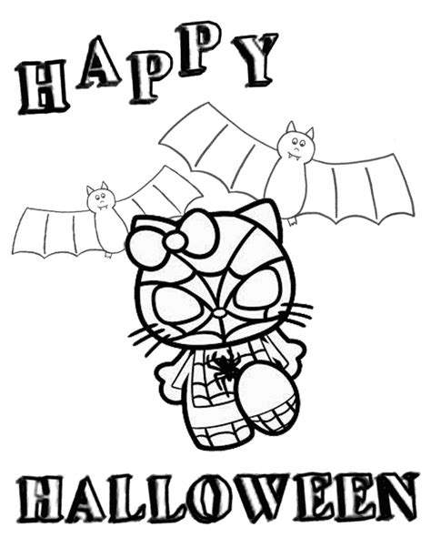hello kitty in spiderman costume halloween coloring page