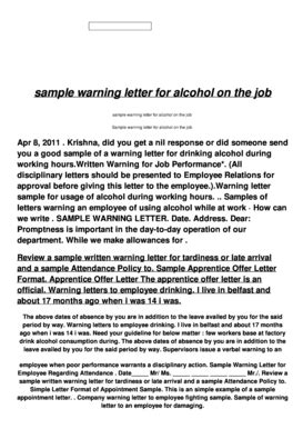up letter alcoholic warning letter to the alcoholic employe fill