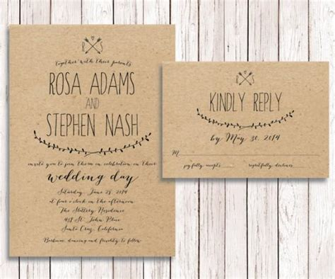 rustic card photography templates rustic wedding invitation rsvp kraft paper wedding