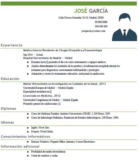 Plantillas De Curriculum Vitae Para Medicos Curriculum Vitae De Medico Ejemplo