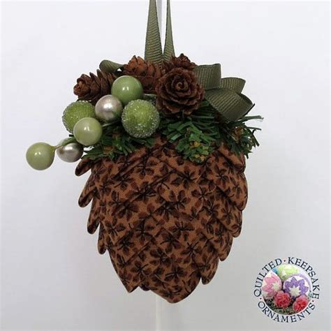 pine cone quilted ornament by quilted keepsake