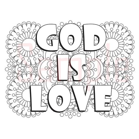 Words God Is Love Adult Coloring Page By Sueathcs On Etsy God Is Coloring Page