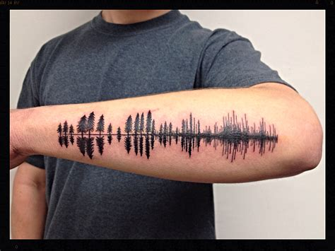 sound wave tattoos black pine tree silhouettes turning into soundwave