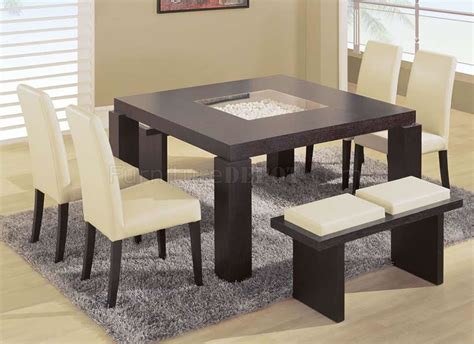 dining room table with benches dark chocolate modern dinette w glass inlay
