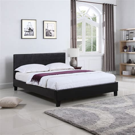Low Leather Bed Frames Bonded Leather Low Profile Platform Bed Frame W Paneled Headboard Ebay