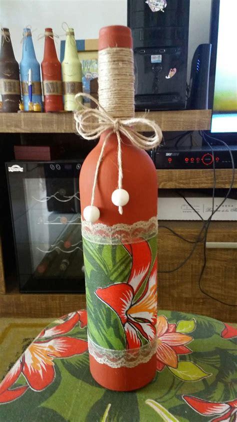 garrafas decoradas sisal garrafa decorada chita e sisal artesanato