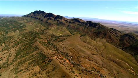 rugged mountain range aerial footage of rugged out back australia mountain ranges creeks peaks desert and mallee