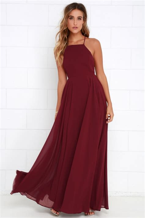 wine color dress beautiful wine dress maxi dress backless maxi dress
