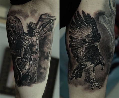 eagle sleeve tattoo black ink flying eagle on half sleeve