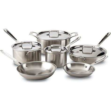 induction cooking with all clad all clad d5 cookware 10pc induction cookware set brushed s s everything kitchens