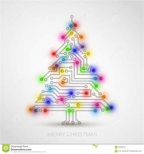 christmas tree from digital electronic circuit stock