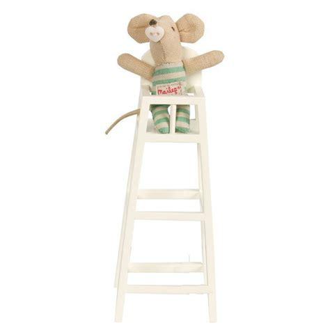 maileg mini chaise haute en bois blanc