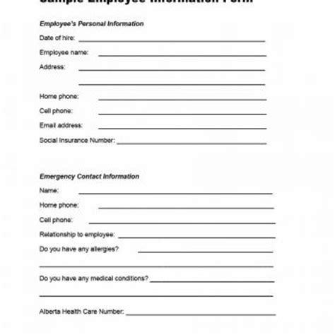 new employee information template 47 printable employee information forms personnel