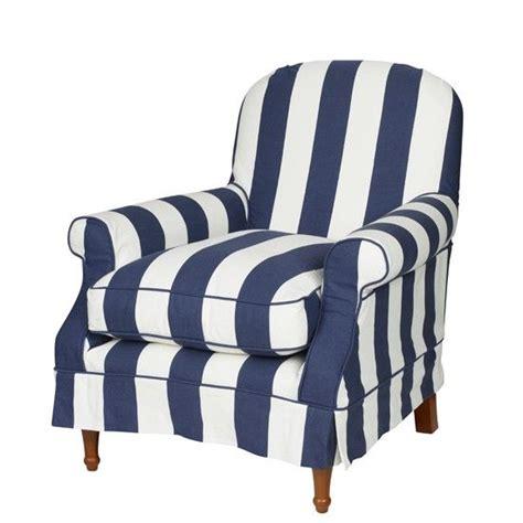 blue white striped armchair nautical stripe slip cover chair beautiful furnishings