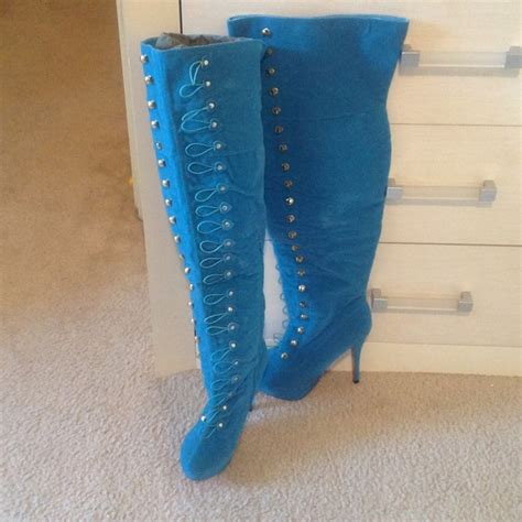 teal thigh high sweetheart boots new 10 from gabi s