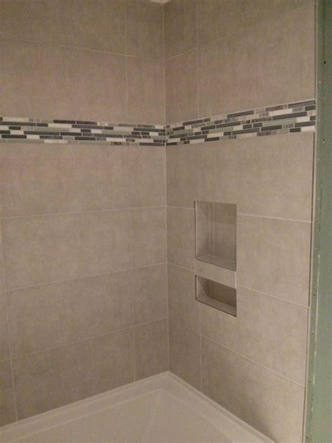 layout for large format tile porcelain tile shower with cubby good morning flooring