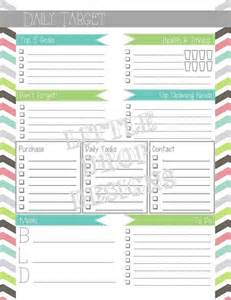 Diy Planner Pages Templates Daily Planner Page Daily Target Diy Planner Printables