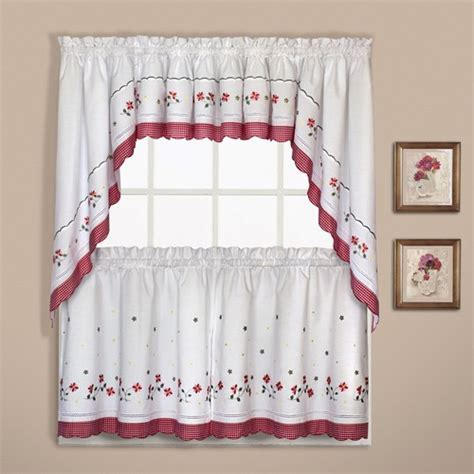 Gingham Embroidered Tier Curtain   Curtain & Bath Outlet
