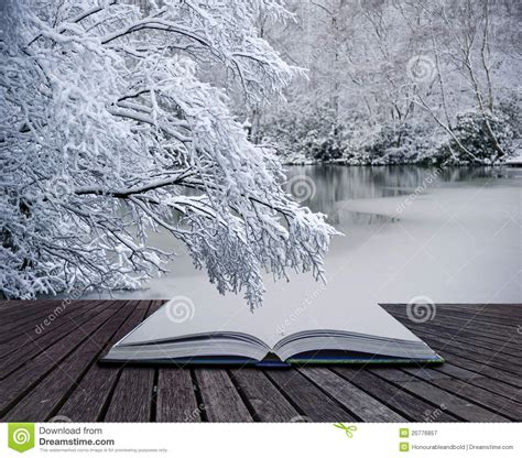 winter books creative concept winter landscape magic book stock image