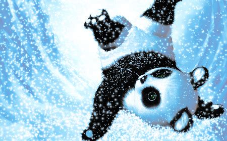 cute christmas panda bear cute snow panda 3d and cg abstract background