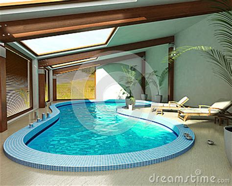 indoor spa pool  chairs  plants stock image