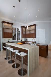 Contemporary Kitchen Islands With Seating - design trend marble amp granite waterfall countertops