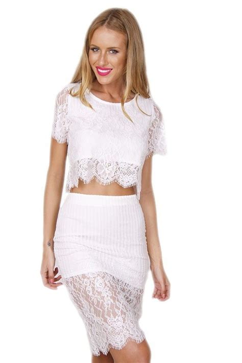 Top Flowhite Skirt Set white lace two dress set ahmazing matching lace top
