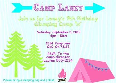 camp out invitations printable free camping party invitation templates